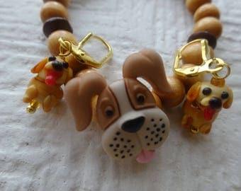 Free Shipping/Teens Jewelry/Teens/Girl Earrings/Dog Bracelet and Earrings/Bracelet and Earrings Set/Glass Blown Earrings/Animal Lovers