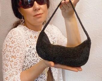 Vintage Beaded Black Bag Purse Evening Clutch Elegant Women Bag Original Design Handwork Made in India 1970s Original Old Black Handbag