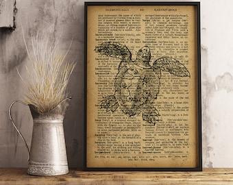 Sea Turtle print Nautical Poster Sea Turtle Rustic decor, Sea Turtle wall art, Beach house decor, Home decor, office decor, cabin decor R38