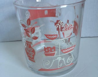Vintage Hazel Atlas Glass Pink White Kitchen Print 50s 60s Sour Cream Glass