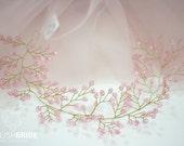 Pink Crystal Wedding Hair Vine, Hair Crystal  Vine, Crystal Hair Accessories, Crystal Vine, Bridal Crystal Hairpiece, Crystal Hair Vine
