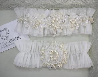 Wedding Garter Set Ivory, Tulle Ivory Bridal Garter, Tulle Ivory Garter, Tulle Ivory Wedding Garter Set, Ivory Wedding Garter Set