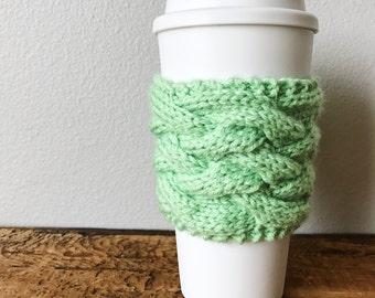 Coffee Sleeve, Green Coffee Sleeve, Coffee Sweater, Knit Coffee Sleeve, knit coffee wrap, knit can cooler, coffee gifts, knit mug wrap