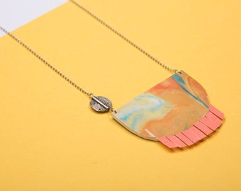 Handmade Necklace - Upcycled paper and magazine - yellow