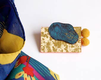 Brooch geometrical - Upcycled paper and magazine - electric blue, golden glitter, pompom