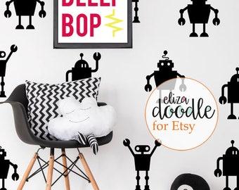 Robot wall decals boys / robot wall stickers / children's stickers / boys wallpaper / children's wall art / Vinyl Stickers / fake wallpaper