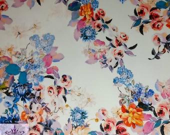 FS094_2 Floral Flower Ivory Base Scuba Jersey Stretch Fabric