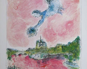 """Marc Chagall  - """"Pink Opera"""" - Rare exhibtion poster, 1981"""