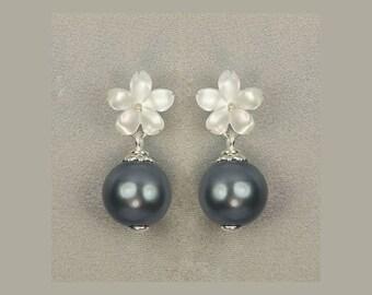 925 Silver White Mother of Pearl Seashell Cherry Blossoms,Gray Black Shell Earrings E108