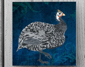 Pack of 6 Greetings / Note Cards with Proud Guinea Fowl design - 148mm x 148mm