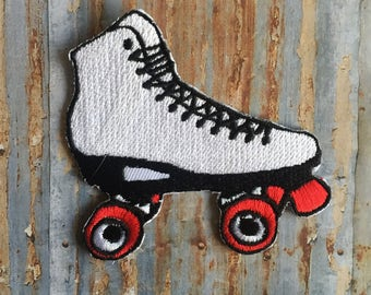 Womens White Retro Skate Roller Derby  Street Skate Iron On Or Sew On Patch