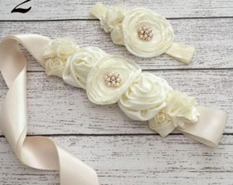 The Perfect Sash, Garter, Headband!  For Any and Every  Occasion. Shades of Ivory Color
