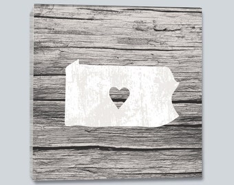 State with Heart Gallery Wrapped Wall Canvas- White Wood Finish