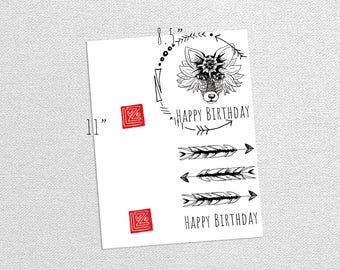 Printable Vintage Fox Tribal Arrows Birthday Cards Printable Art