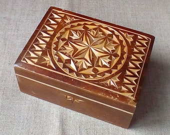 Vintage wooden  box carved storage jewelry or small items - Made in the USSR