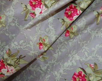 Gray and Pink Flower Fabric, Pink Floral Fabric by the Yard, Anna Griffin Camilla Collection Fabric