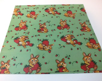 Vintage Wrapping Paper Rabbit Bunny Strawberry Strawberries Garden Gift Wrap