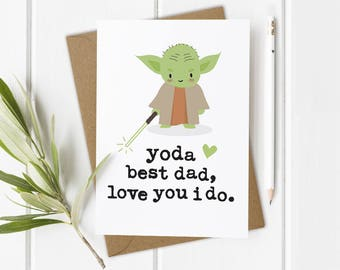 Funny Dads Birthday Card, Star Wars Birthday Card, Yoda Star Wars Card, Funny Star Wars Card, Star Wars Card Dad, Yoda Star Wars Gift