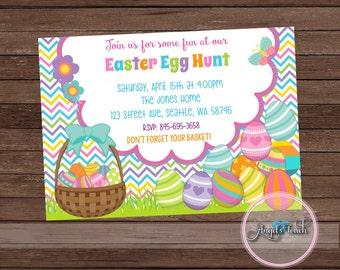 Easter Egg Hunt Invitation, Easter Party Invitation, Easter Birthday Party Invitation, Easter Egg Hunt Party Invitation, Digital File