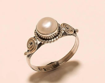 Natural Pearl Ring Cabochon Ring Sterling Silver Ring Pearl Gemstone Ring 925 Solid Sterling Silver Ring Fresh Water Pearl Ring Size 6 E-244