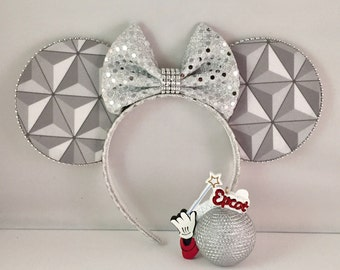 Minnie Ears, Spaceship Earth Minnie Ears Headband Mickey Ears  epcot ears