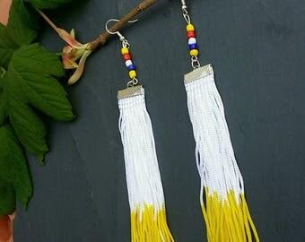 Yellow Long Dip Dyed Tassel earrings with zulu seadbeads