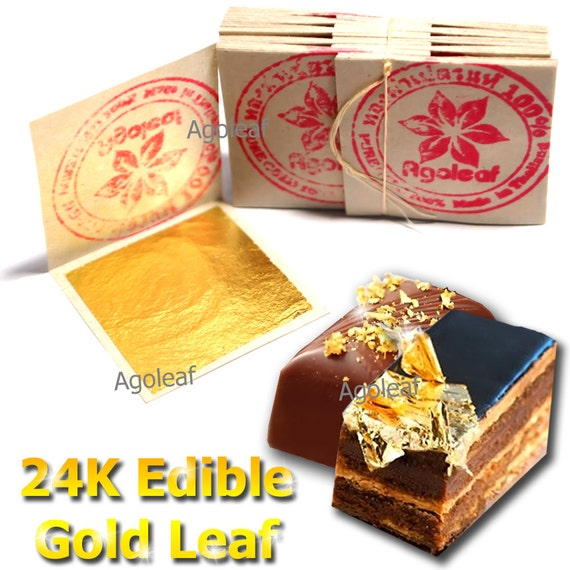 Edible Gold Leaf Cake Decorating : 100pcs Edible Gold Leaf Sheets 24K 100% Pure Cake Decoration