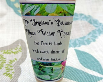 Rose Water Cream for face and hands with shea butter and almond oil 15ml