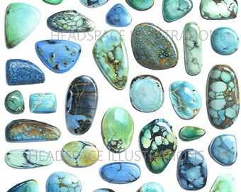 Turquoise Stones Colored Pencil Mineral Crystal Art Print by Headspace Illustrations