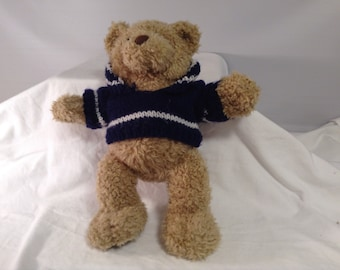 """Build A Bear 15"""" plush Brown Curly Bear 1997  Sweater Blue White Vintage"""