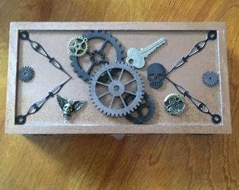 Steampunk wood box.  Jewelry box. Trinket box