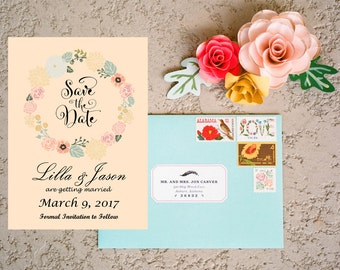 Save the date card Personalized Printable save the date wedding announcement card floral wedding print custom Save the date invitations
