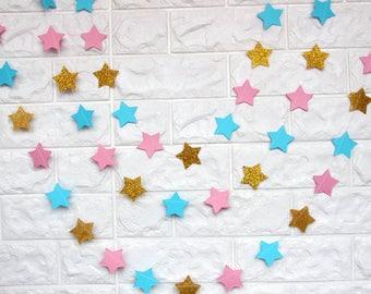 3m Twinkle Twinkle Little Star, Gender Reveal Garland, Pink Blue Baby Shower, Cake Smash Banner