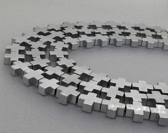 8mm/10mm/12mm Hematite Cross Beads,Silver Hematite Beads For Jewelry Making