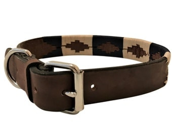 Hand Made Leather Embroidered Polo Dog Collar Medium / Large Buckle Argentina Argentinian Style