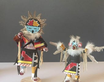 Lot of 2 Vintage KACHINA DOLLS  Sunface and Eagle Native American