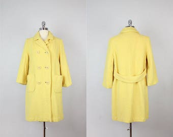 vintage 60s bright yellow wool coat / canary yellow coat / spring coat / faux double breasted coat