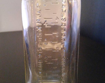 Vintage 1950's Syrup Mathieu's Glass in Relief Very nice condition !!!!*