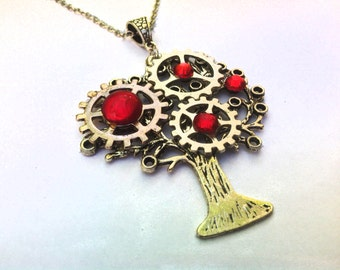 Silver Steampunk Tree, Gears Pendant, Red Glass Rhinestones Necklace, Gift
