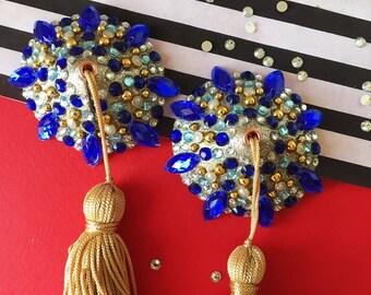 Vintage Gold and Royal Blue with Vintage Gold Tassels