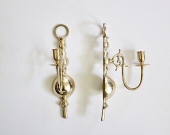 Pair of Vintage Brass Candlestick Wall Sconces