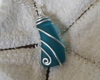 Handmade in Hawaii, Wire wrapped teal blue sea glass necklace, 925 sterling silver chain, Gift box, Beach glass jewelry. Sea glass jewelry.