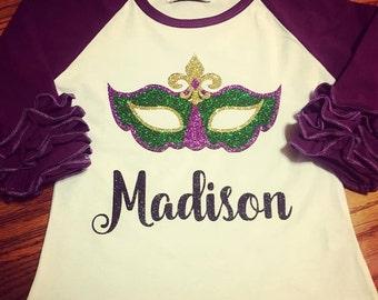 NEXT DAY SHIPPING! Mardi Gras ruffle raglan glitter t-shirt for children. Little girls shirt for parades. Fleur de lis mask tee for babies.