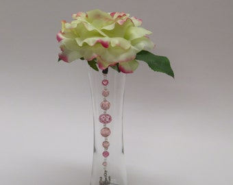 Silk Pink Yellow Single Stem Rose with Pink Glass Beads and Tiara/Crown in Concave Glass Vase for Home Decor
