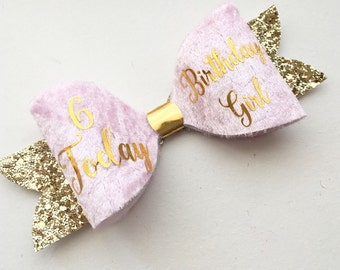 Custom Birthday Bow - Birthday Girl hair clip - special occasion custom bow - pink party bow-smash cake props