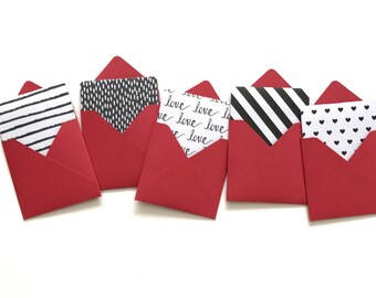 Valentine cards, love notes, valentine gift tags, mini card set