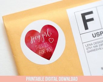 Hey Girl Stickers - Printable Stickers - Gift Tags - Packaging Stickers - Product Label - Valentines Day Packaging - Heart Stickers