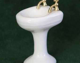 Miniature White Ceramic Pedestal Bathroom Sink