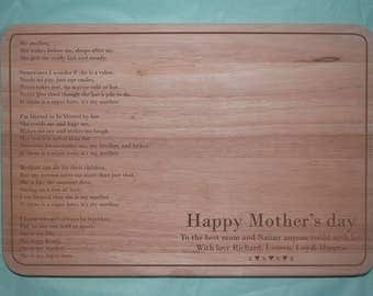 Laser engraved wooden Mother's Day Chopping board (Design 3)