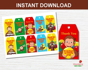 Curious George Favor Tags, Thank You Tags, Party Favors Gift Tags Printable, Birthday Party Decoration